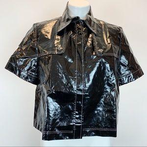 Lafayette 148 cropped slick coated jacket rain